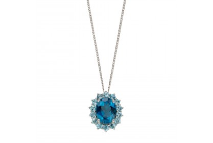 9ct White Gold Blue Topaz Cluster Necklace