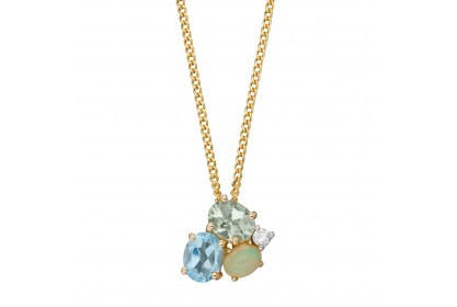 9ct Yellow Gold Topaz, Opal & Amethyst Necklace