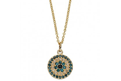 9ct Yellow Gold Topaz & Black Spinel Necklace