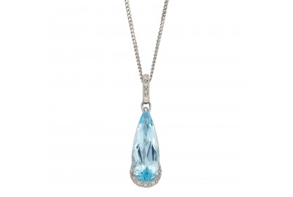 9ct White Gold Blue Topaz & Diamond Teardrop Necklace