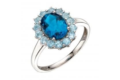 9ct White Gold Blue Topaz Cluster Ring