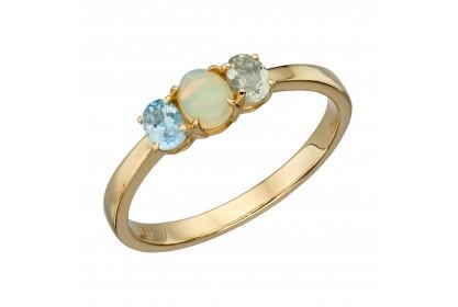 9ct Yellow Gold Topaz, Opal & Amethyst Ring