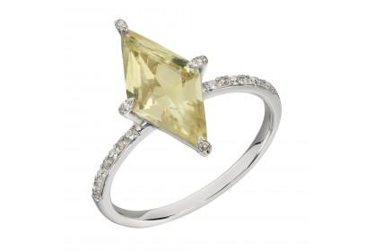 9ct White Gold Lemon Quartz & Diamond Ring