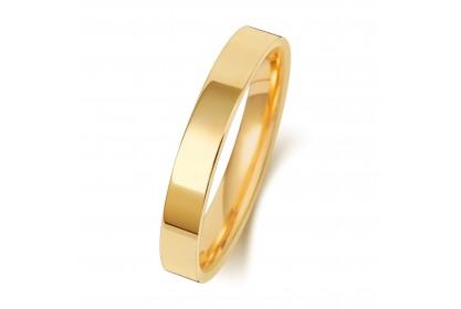 9ct Yellow Gold Flat Court 3mm Medium Weight Band