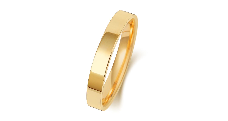 18ct Yellow Gold Flat Court 3mm Medium Weight Band