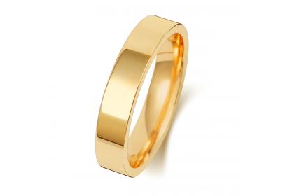 18ct Yellow Gold Flat Court 4mm Medium Weight Band