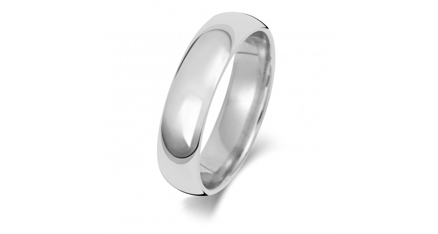 18ct White Gold Court 5mm Heavyweight Band