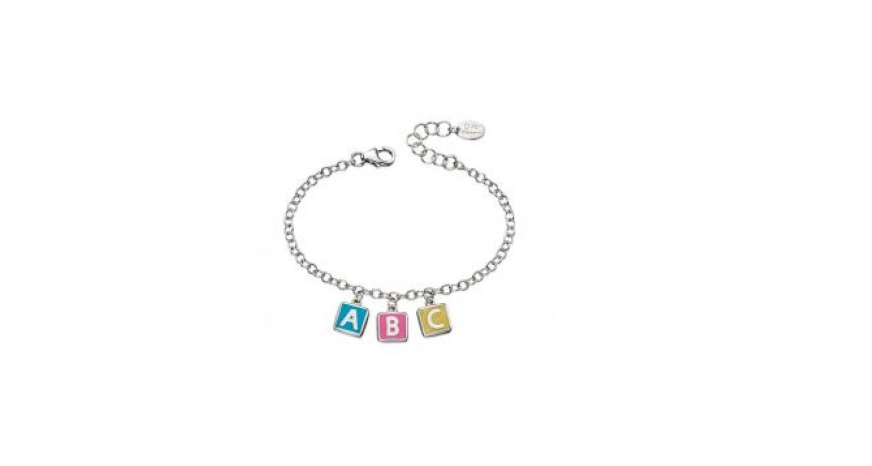 D For Diamond ABC Enamel Cube Charm Bracelet