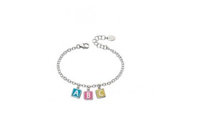 D For Diamond ABC Enamel Cube Charm Bracelet